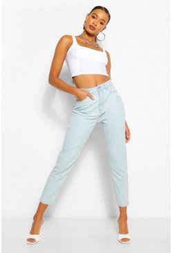 Light wash blue Mid Rise Boyfriend Jeans