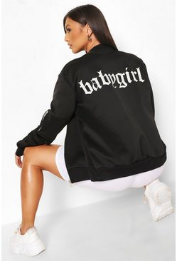 Black Baby Girl Back Print Bomber Jacket