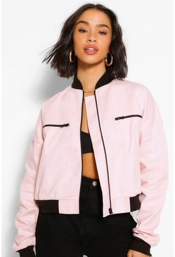Baby pink pink Woven Zip Detail Bomber Jacket