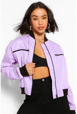 Lilac purple Woven Zip Detail Bomber Jacket