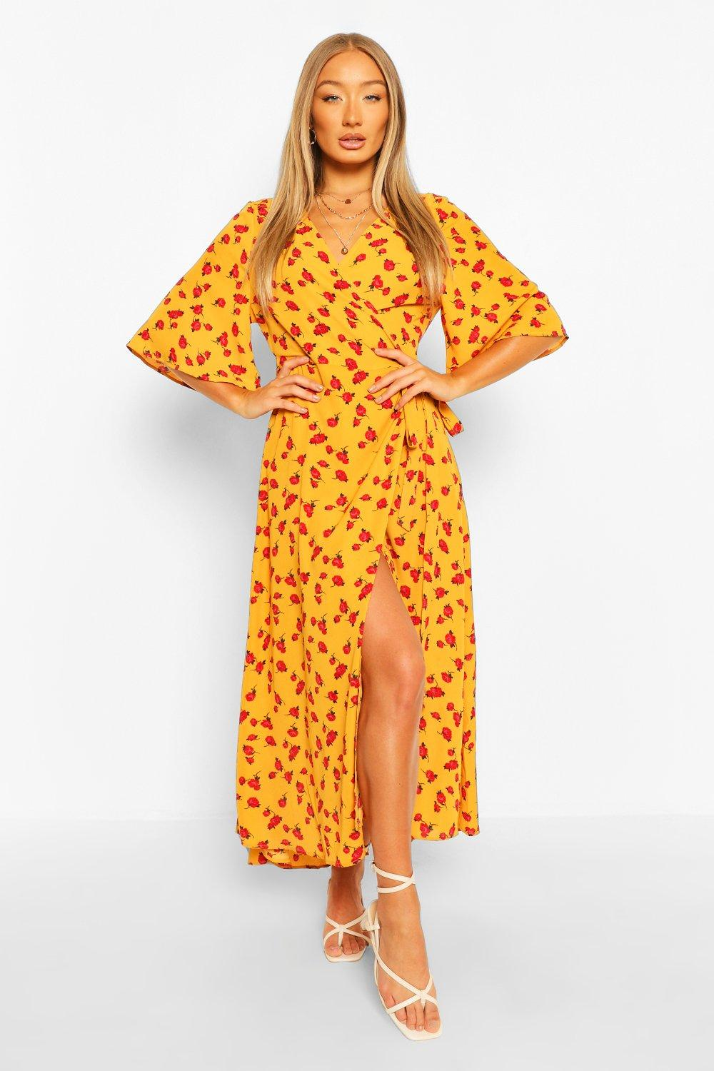 Don't Miss Out Floral Print Wrap Midaxi Dress