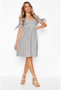 Black Stripe Button Through Skater Dress