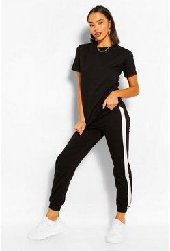 Black STRIPE SEAM T-SHIRT TRACKSUIT