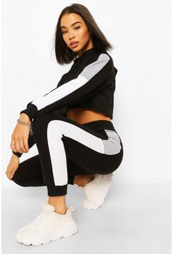 Black Colour Block Crop Hoodie Tracksuit