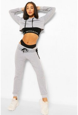 Grey marl grey Colour Block Crop Hoodie Tracksuit