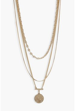 Gold metallic Triple Chain Coin Pendant Layered Necklace