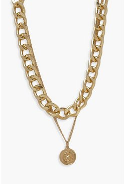Gold metallic Chunky Chain & Coin Layered Necklace