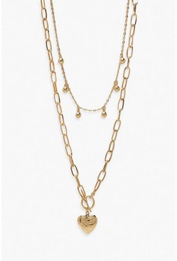 Gold metallic Ball & Heart Pendant Layered Necklace