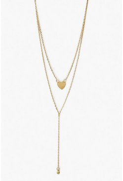 Gold metallic Heart and Ball Layered Choker