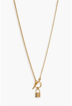 Gold metallic T-Bar & Lock Pendant Necklace