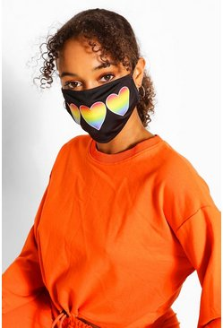 Black Rainbow Heart Fashion Face Mask