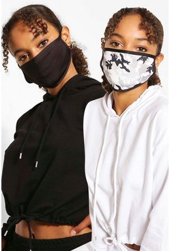Black Mono Camo Fashion Mask 2 Pack