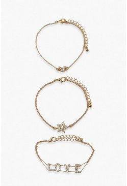 Gold metallic Love Slogan Diamante Bracelet 3 Pack