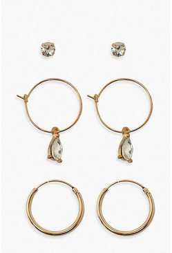 Gold metallic Diamante Stud & Hoop Earring 3 Pack