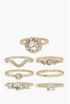 Gold metallic 7 Pack Diamante Detail Stacking Rings
