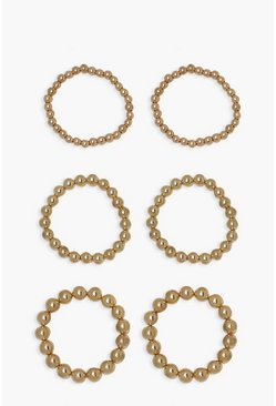 Gold metallic 6 Pack Bead Bracelets