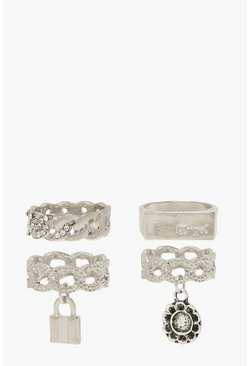 Silver 4 Pack Padlock & Chunky Chain Rings