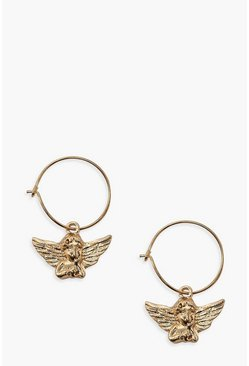 Gold metallic Cherub Pendant Hoop Earrings