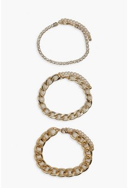 Gold metallic 3 Pack Chain & Diamante Bracelets