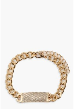 Gold Chain & Diamante Bar Bracelet