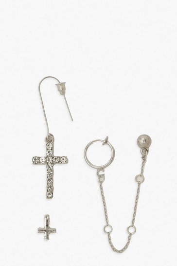 Silver Cross and Chain Link Earring Pack