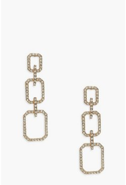 Gold metallic Diamante Square Chain Link Statement Earrings