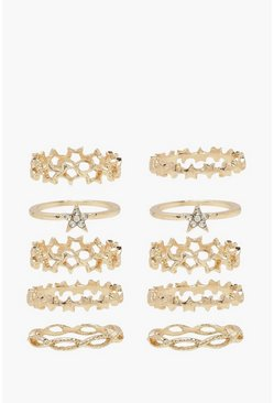 Gold metallic Diamante Star Stacking Ring Pack