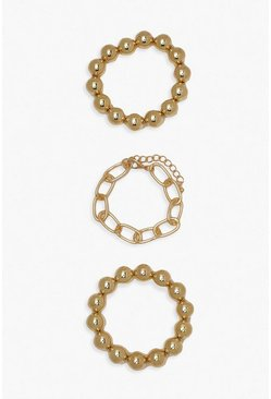 Gold metallic 3 Pack Bead & Chain Bracelets