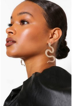 Gold metallic Textured Snake Statement Earrings