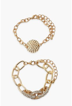 Gold metallic 2 Pack Chunky Chain Link Bracelets