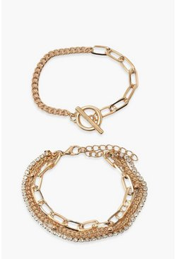 Gold metallic 5 Pack T-Bar Clasp and Chain Bracelets