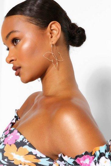 Gold metallic Cut Out Butterfly Earrings