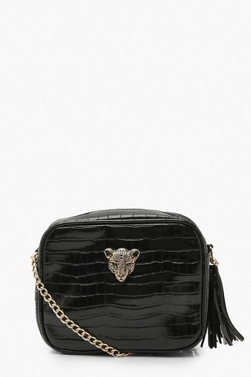 Black Croc Cheetah Hardware Quilted Cross Body Bag