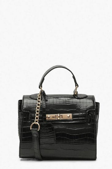 Black Structured Croc Mini Lock Cross Body Bag