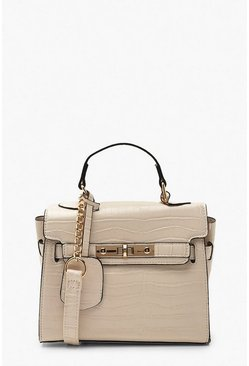 White Structured Croc Mini Lock Cross Body Bag
