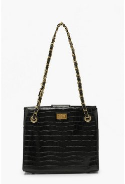 Black Croc Chain Strap Twist Lock Day Bag
