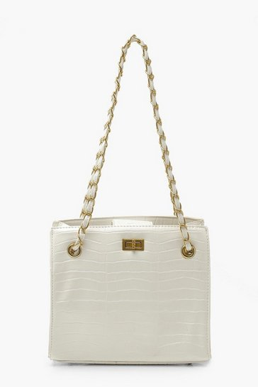 White Croc Chain Strap Twist Lock Day Bag