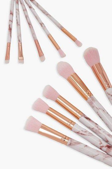 Pink 10 Piece Rose Gold Marble Make Up Brush Set