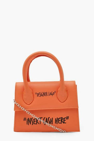 Orange Insert Cash Slogan Structured Cross Body Bag