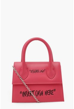 Pink Insert Cash Slogan Structured Cross Body Bag