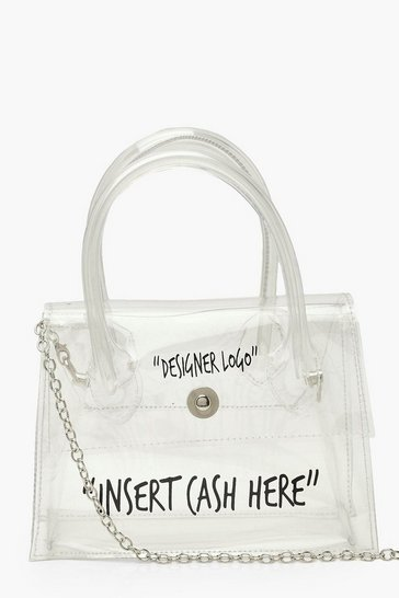 Clear Insert Cash Slogan Cross Body Bag