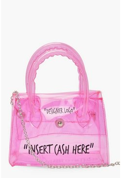 Pink Clear Insert Cash Slogan Cross Body Bag