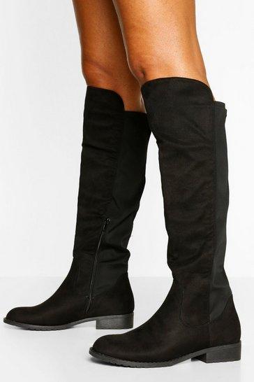 Black Wider Calf Knee High Riding Boots