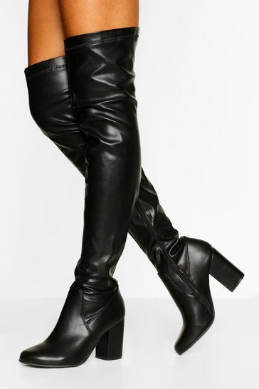 Black Wider Calf Block Heel Over The Knee Boot
