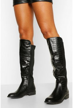 Black Petite Fit Knee High Riding Boots