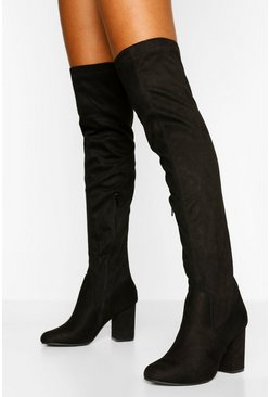 Black Petite Fit Block Heel Over The Knee Boot