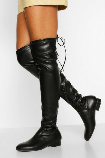 Black Petite Fit Over The Knee Boot