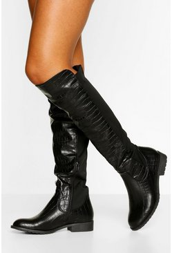 Black Tall Fit Knee High Riding Boots