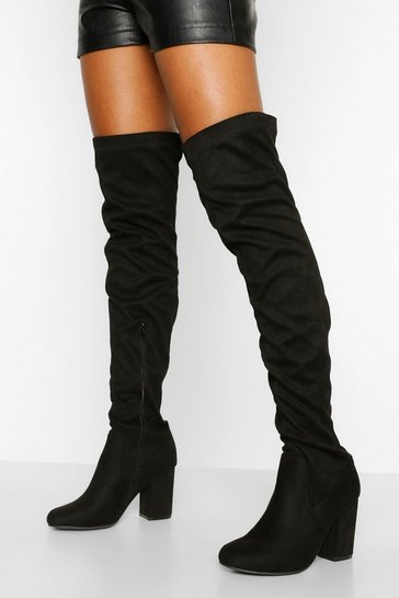 Black Tall Fit Block Heel Over The Knee Boot