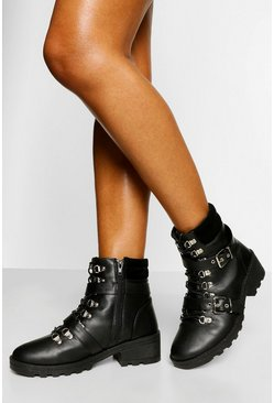 Black Wide Fit Buckle Detail Lace Up Chunky Hiker Boot